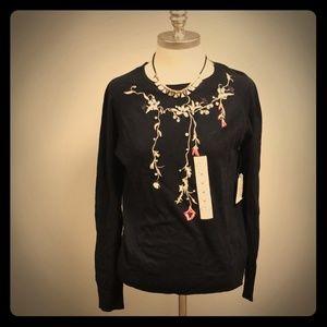 St John Bay Women black crew neck pullover sweater